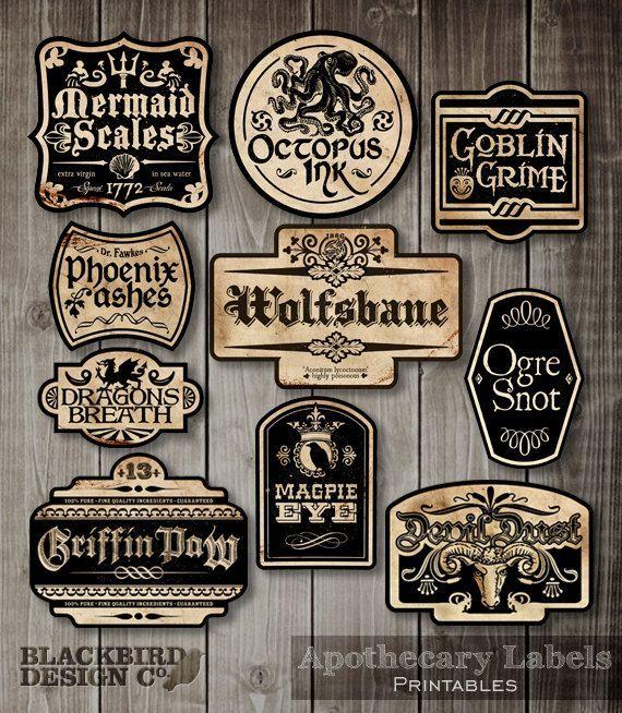 Apothecary Labels - Halloween Labels - Digital Clip Art Graphics - print halloween decorations