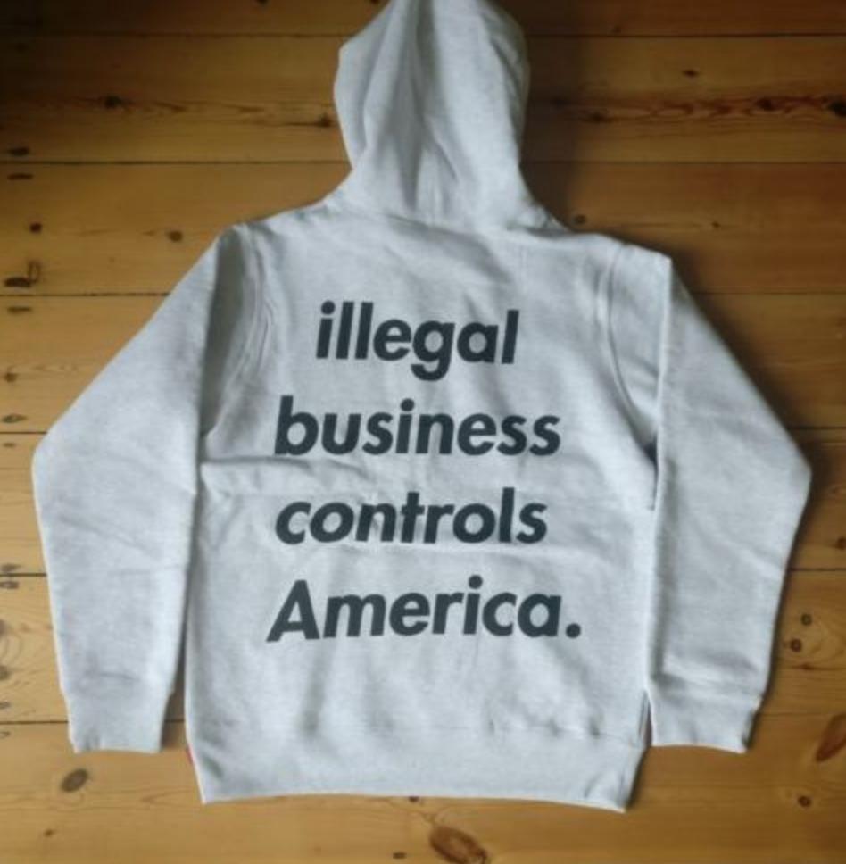 9bedec337045 FOR SALE  Supreme Illegal Business Hooded Sweatshirt Medium Hoodie Ash Grey