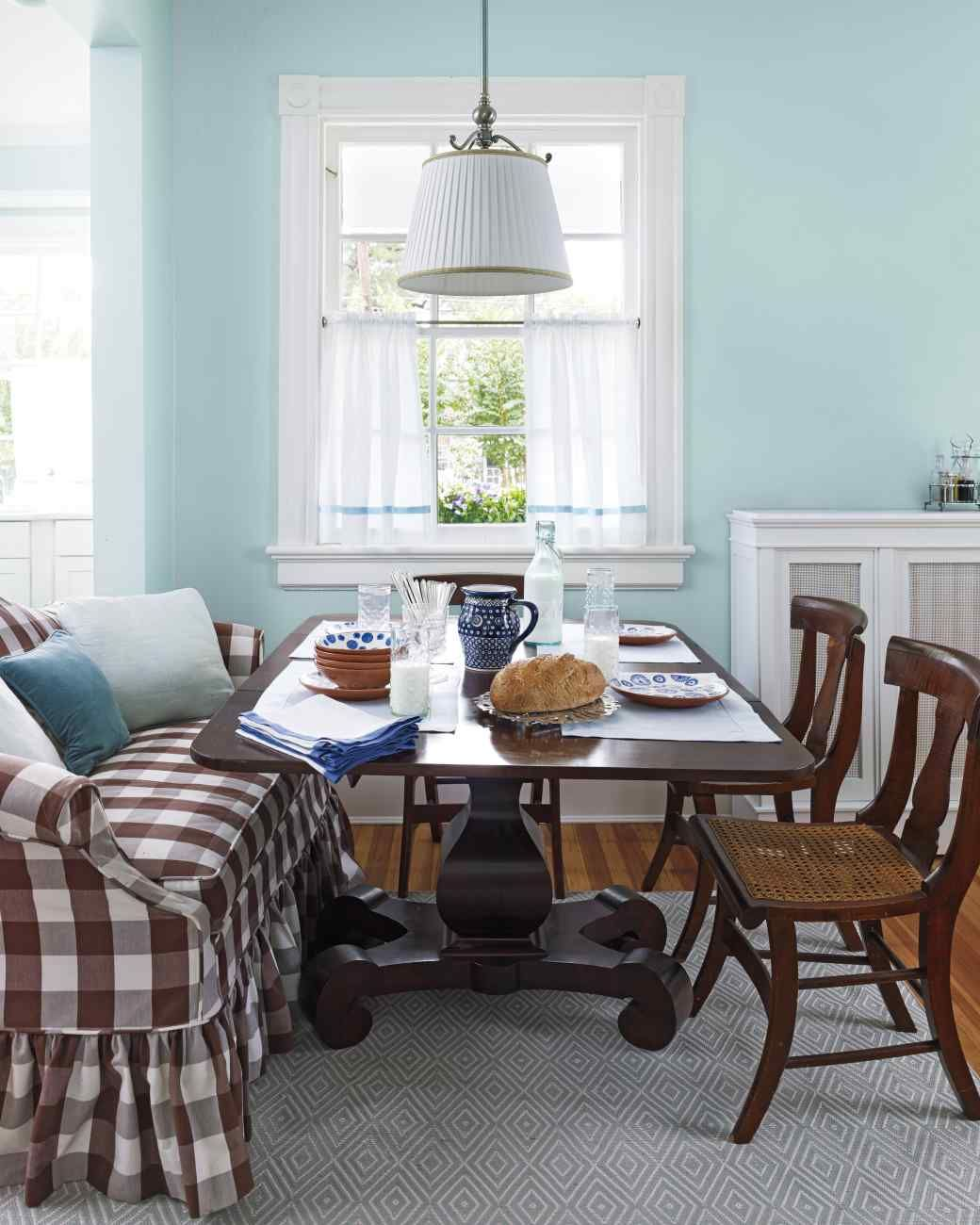 A blueprint for color color palette pinterest dining and room the mahogany table in the dining room is flanked by a brown buffalo check sofa and antique tiger maple chairs from deborahs mothers family malvernweather Gallery