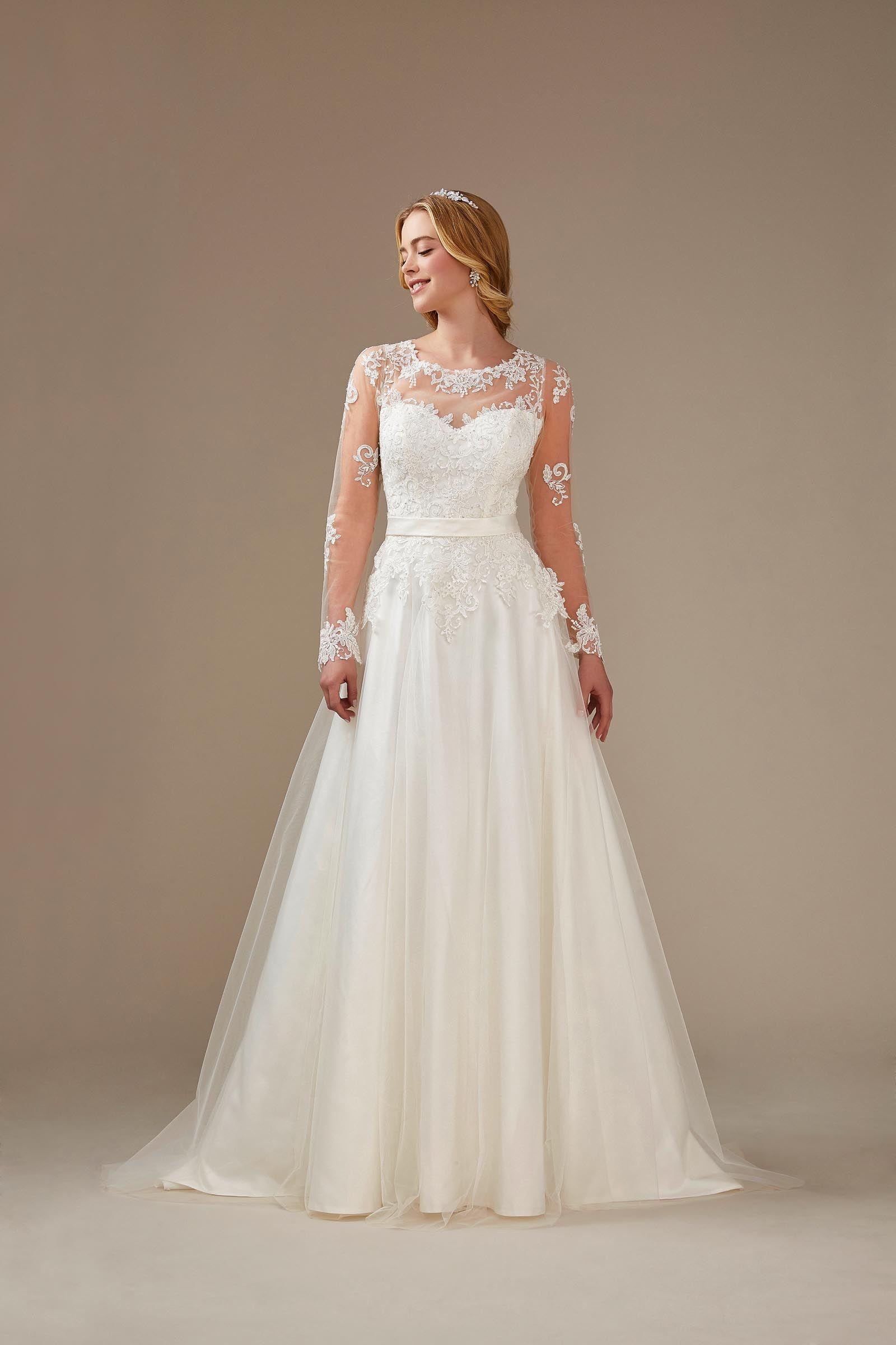 A-Linien-Brautkleid mit langen Ärmeln, Spitze und elegantem Rücken