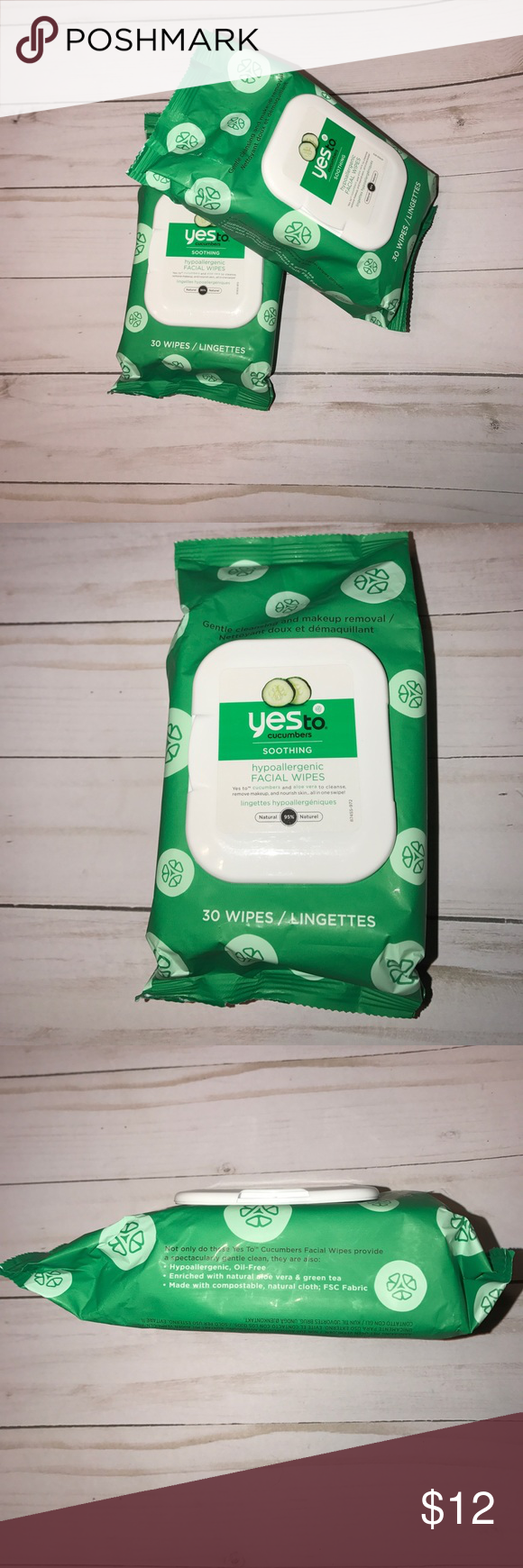 [Yes To] Cucumbers Soothing hypoallergenic Facial wipes