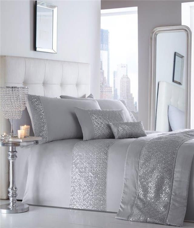 King Size Luxury Duvet Set New Silver Grey Sequin Diamante Quilt Cover Bed Set Ebay Silver Duvet Silver Duvet Cover Duvet Cover Sets