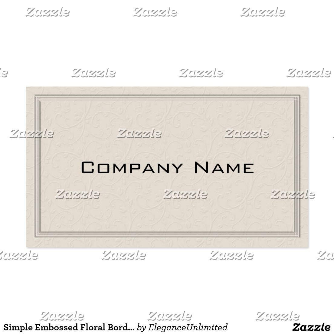 Simple embossed floral border business card business cards simple embossed floral border business card reheart Image collections