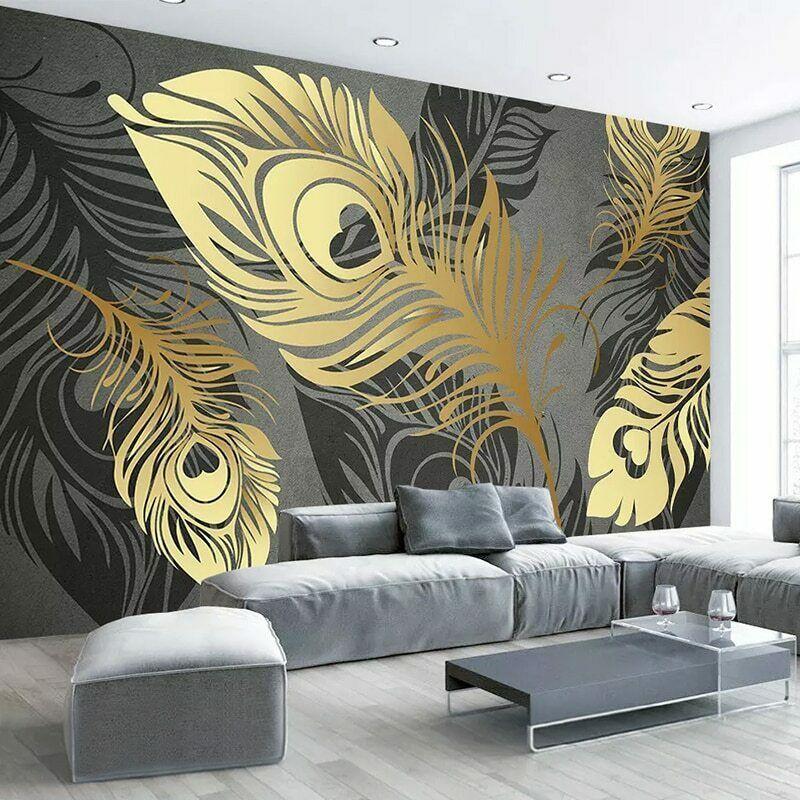 eBay Sponsored 3D Modern Grey Gold Feather Leaf Wall