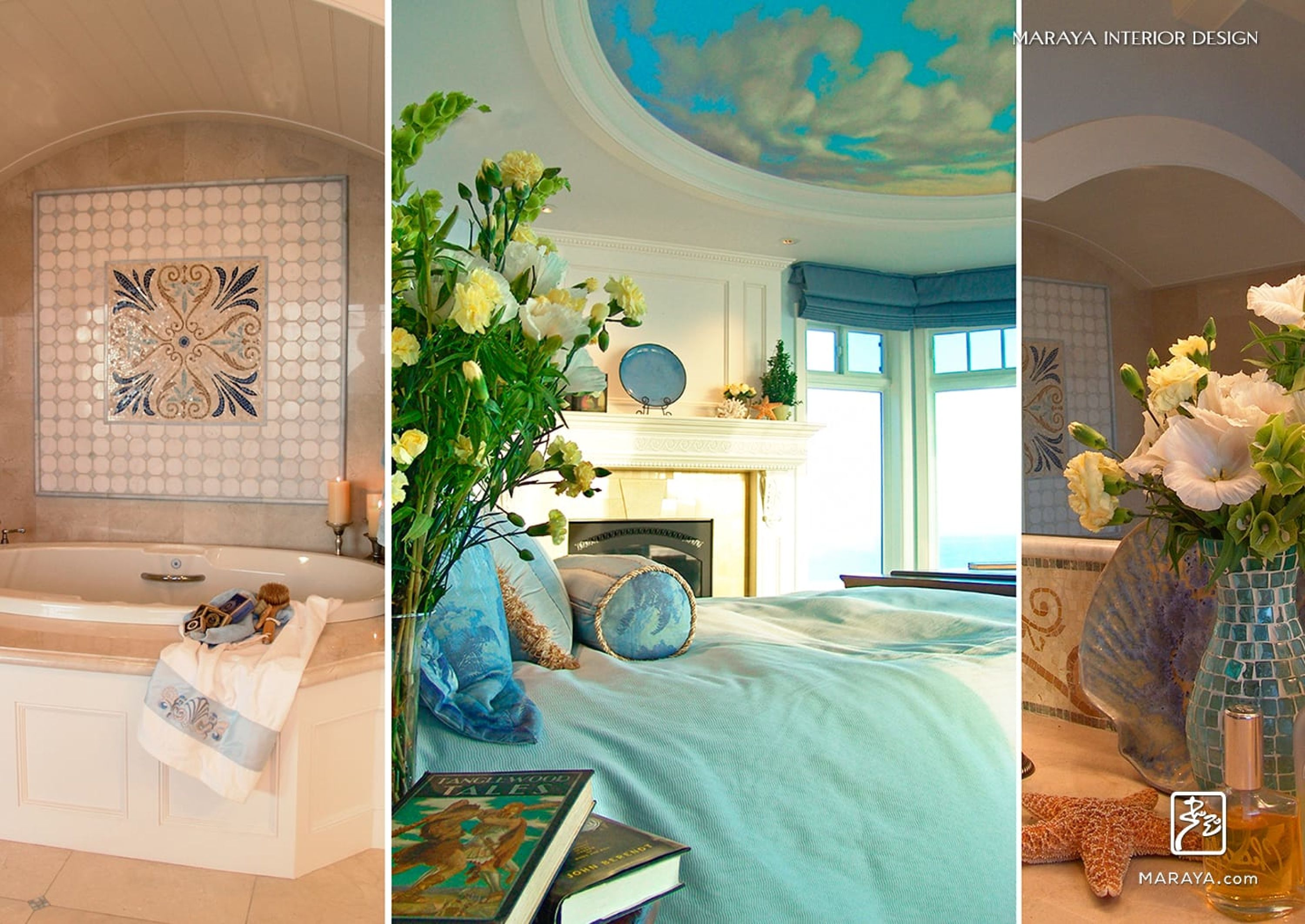 Cape cod beach home master bath with mosaics and domed sky ceiling in master bedroom.  maraya interior design