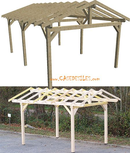 Carport Bois Structure 1 Voiture 10 86mc Ka3550s Pas Cher Construcao Policarbonato Galinheiro