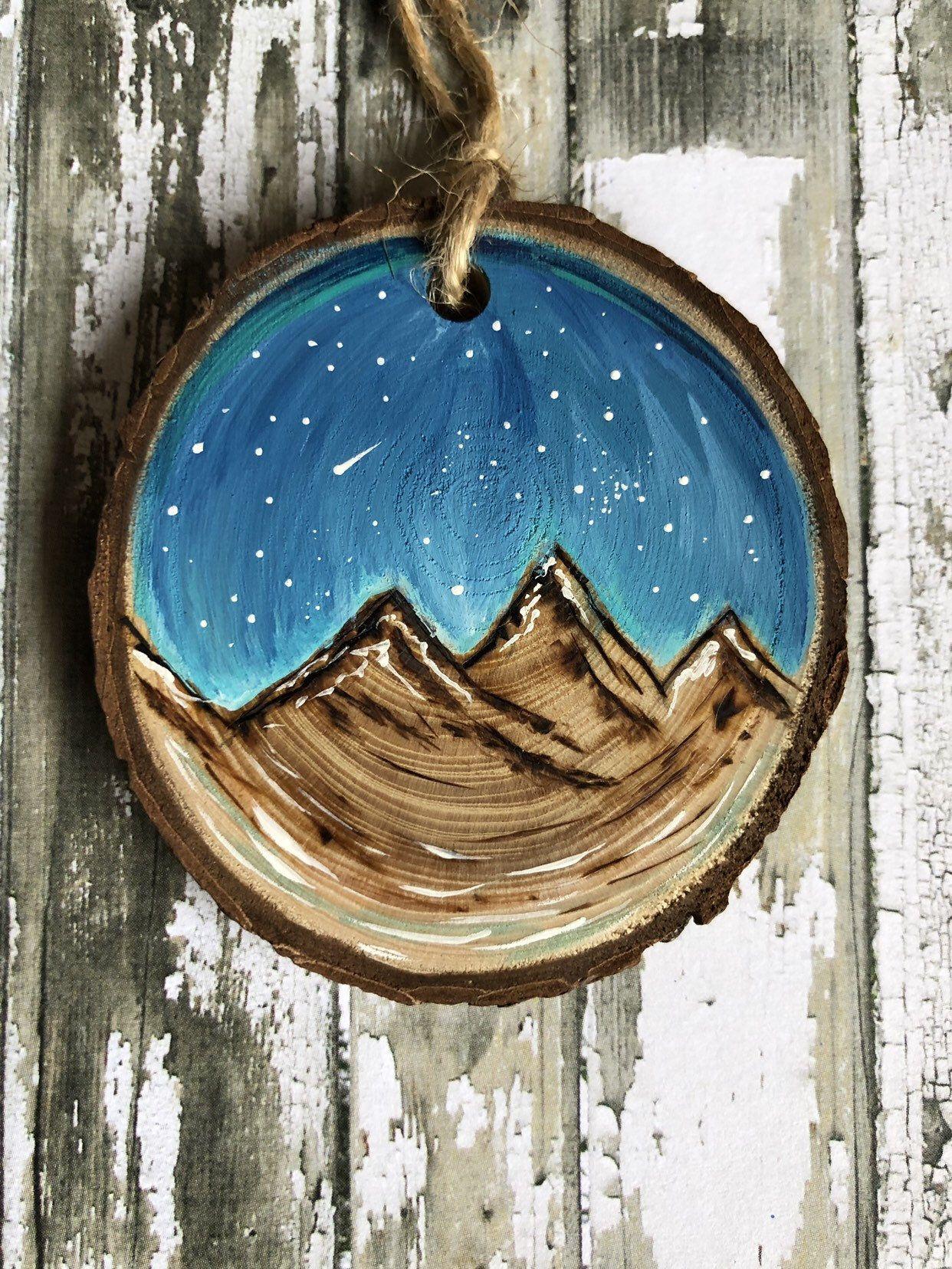 Wood burned, handpainted wood slice ornament, mountains