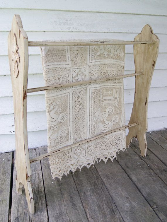 PICK UP ONLY Distressed Beige Wooden Quilt Rack With