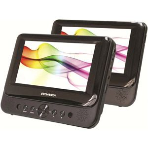 """Sylvania 7"""" Dual-Screen Portable DVD Player, Black"""