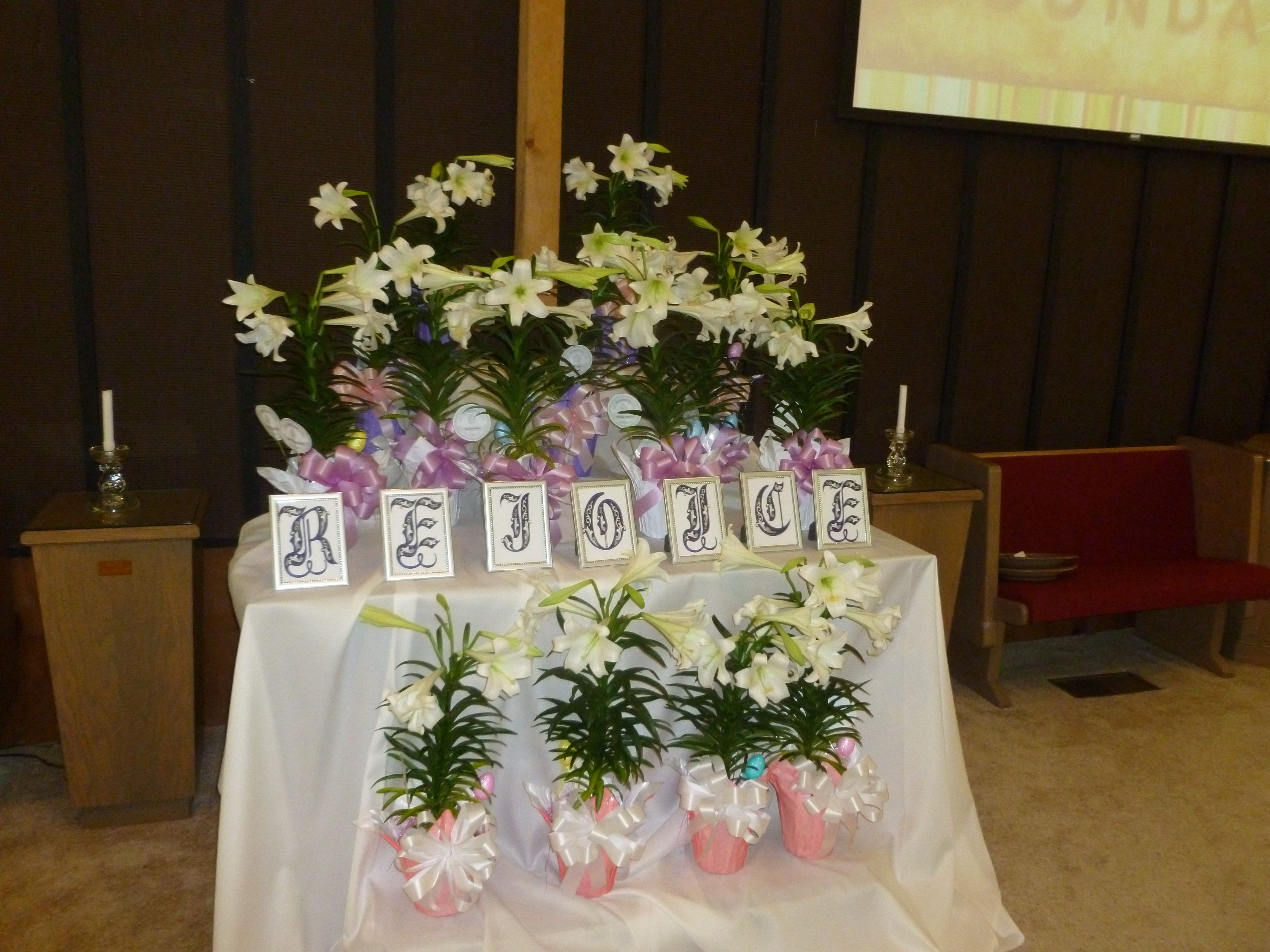 Easter altar at church print letters use cheap dollar store frames print letters use cheap dollar store frames easy to izmirmasajfo Choice Image