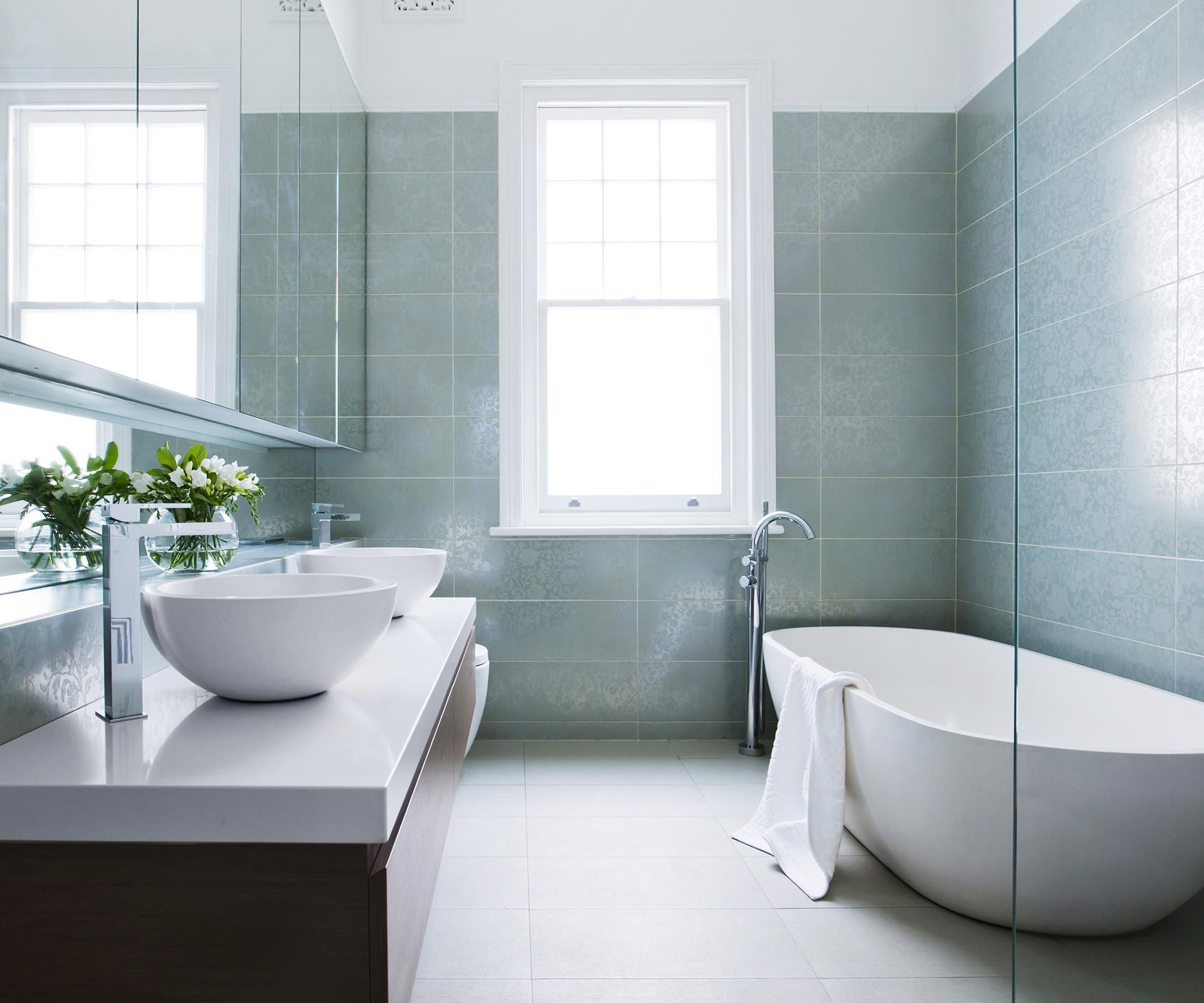 bathroom in a day. A Pale Blue Bathroom Renovation In Heritage Home Combines Classic Style With Modern-day Day E