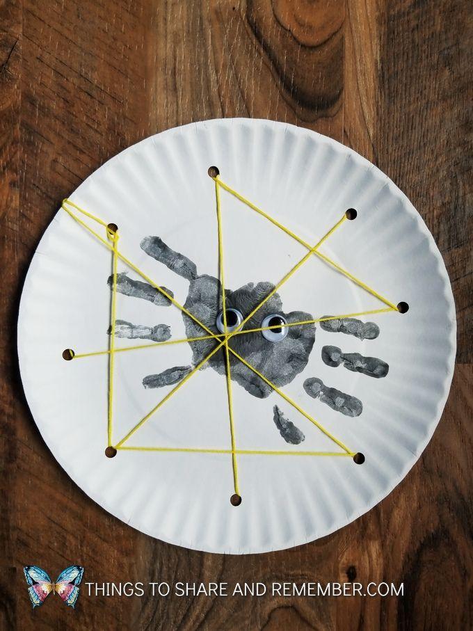 Handprint Spiders & Paper Plate Webs | Halloween | Pinterest ...