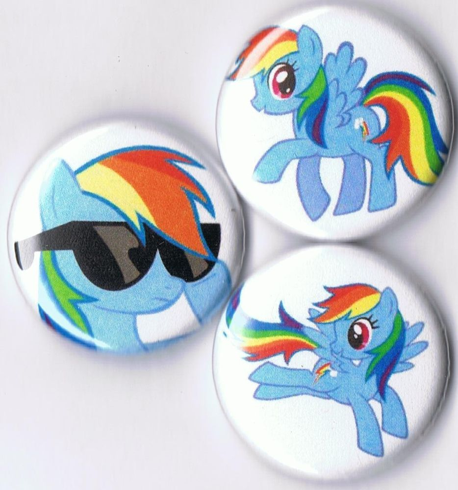 set+of+3+My+Little+Pony+pins+buttons+badges+Rainbow+Dash+friendship+brony+