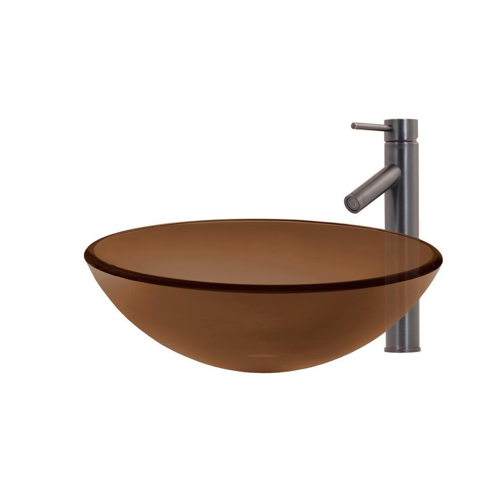 Glass Vessel Sink In Brown With Faucet In Oil Rubbed Bronze Tsfs 084t4436orb Glass Vessel Sinks Glass Vessel Vessel Sink