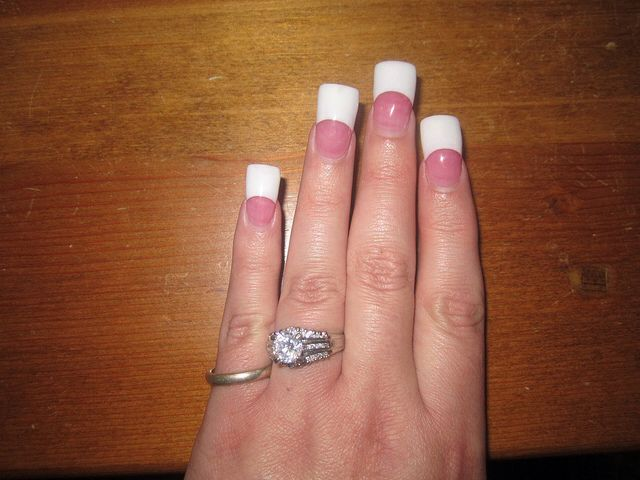 Square french manicure jersey style nailss | Nails | Pinterest ...