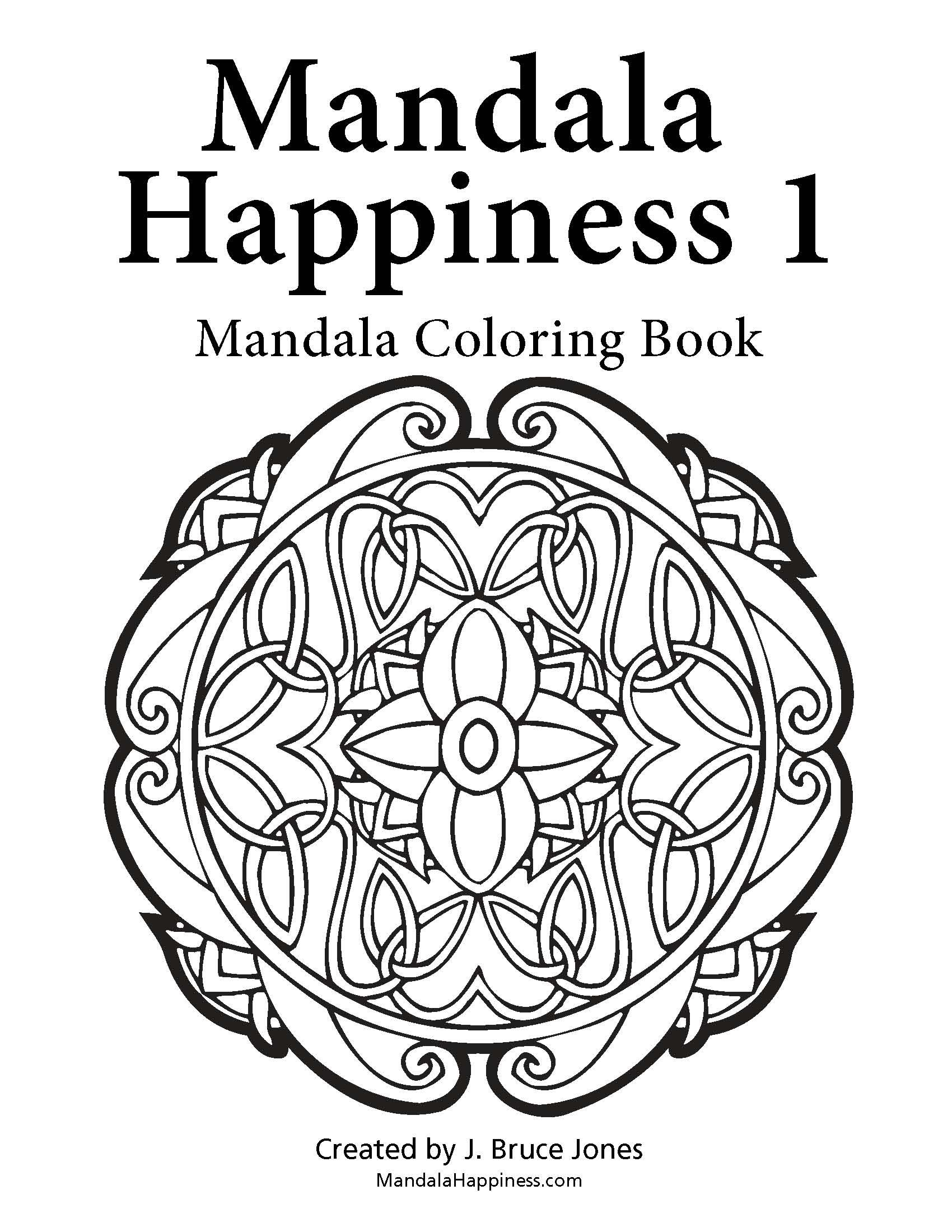 Title page from the adult grown up coloring book Mandala Happiness ...