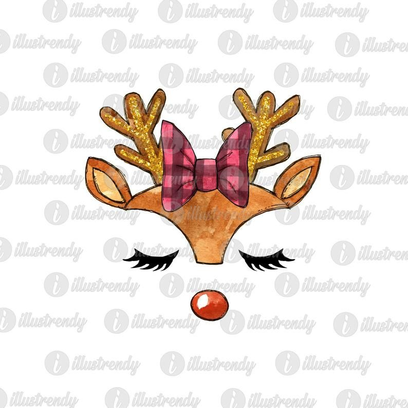 Reindeer Girl Red Nose Face Sublimation Design Rudolph Head Etsy Christmas Watercolor Christmas Illustration Christmas Prints