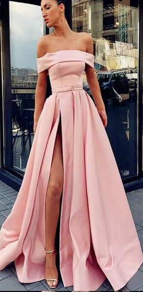 ALine Off Shoulder Long Cheap Sweep Train Split Front Pink Prom Dresses with Belt, PD0945 ALine Off Shoulder Long Cheap Sweep Train Split Front Pink Prom Dresses with Belt, PD0945 - Prom dresses yellow, Pink formal dresses, Elegant prom dresses, Satin prom dress, Long elegant prom dresses, Prom dresses long pink - Grey Sequin Tulle Halter Side Slit Cheap Modest Long Evening Prom Dresses, PD0937 The dresses are fully lined, chest pad in the bust, lace up back or zipper back are all available, total 126 colors are available  This dress could be custom made, there are no extra cost to do custom size and color Description1, Material