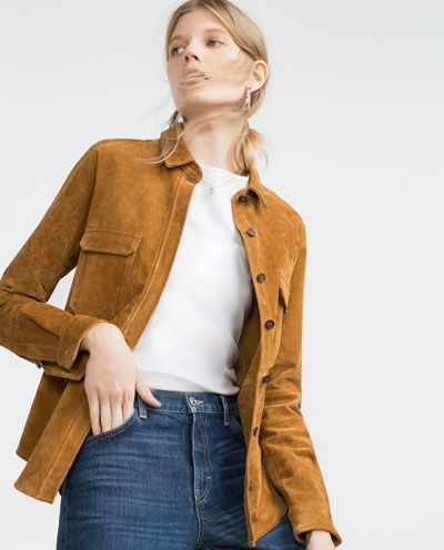 LEATHER OVERSHIRT from Zara $60 on sale