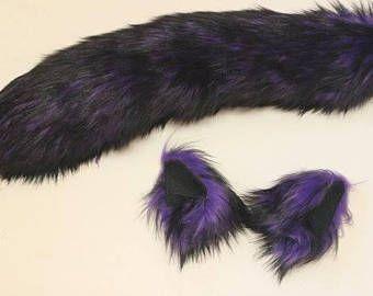 Purple Husky Wolf Costume - Wolf Ears and Wolf Tail- Husky