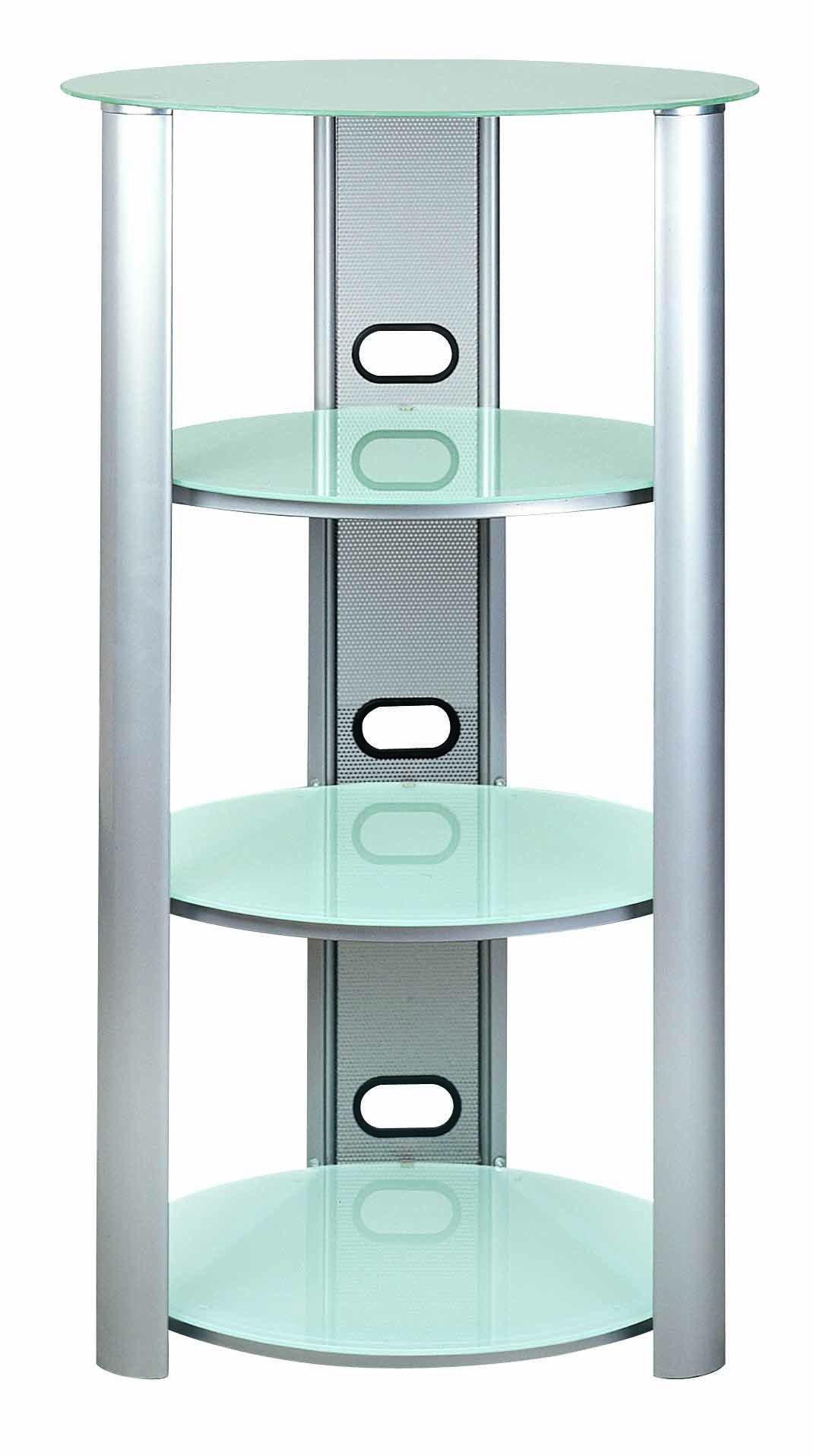 S Hold 8 Three Shelves Audio Racks Tempered Frosted Glass Eye Rack Wiring Shaped Tube With Silver Powder Coating Management Design