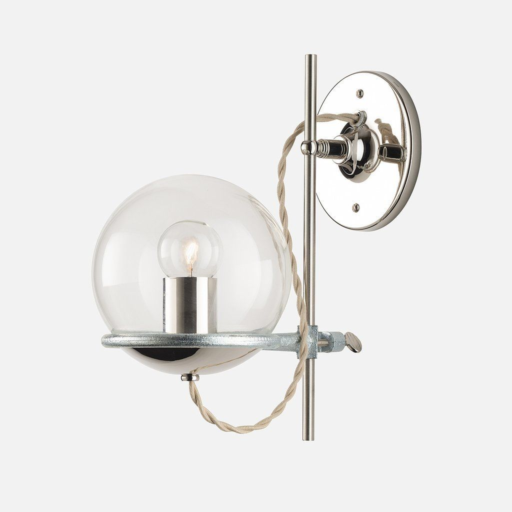 A Handblown Glass Globe Gives A Mod Sensibility To Our Chem Lab Inspired  Wall Mount.