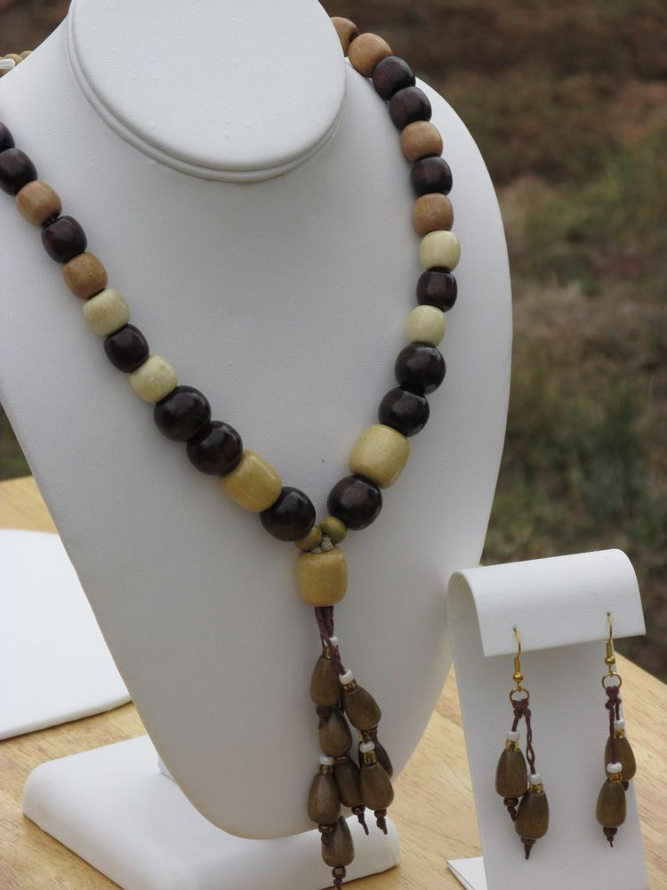 Wood Beaded Necklace Earring Set Handcrafted Dangles Jute Hemp Glass (AS001-1) #Handmade