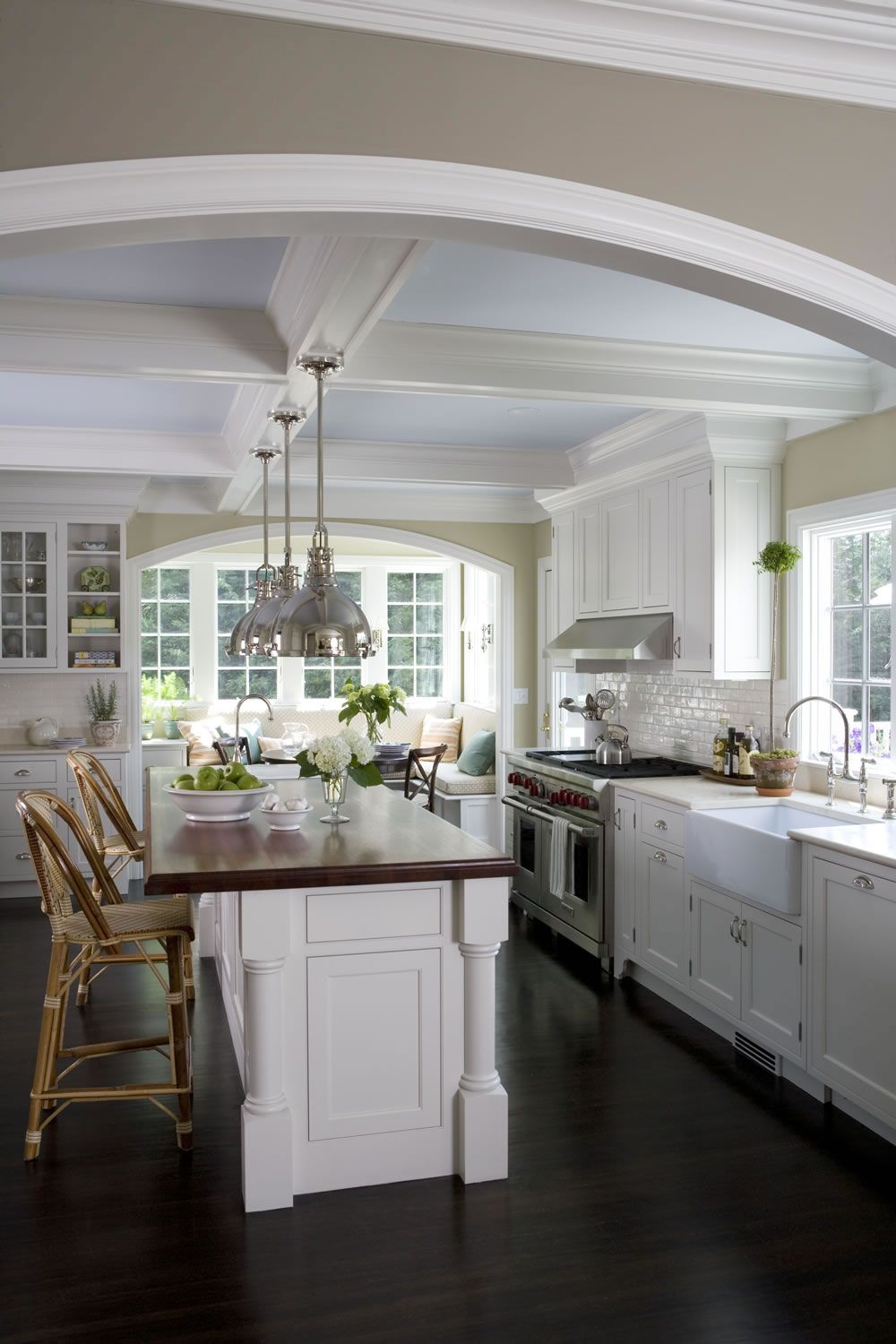 Beautiful white kitchen. Love the island, ceiling, apron front farm ...