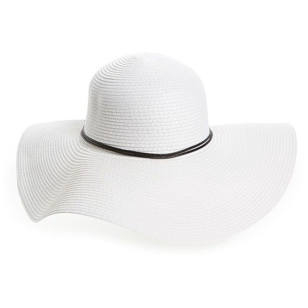 ad6f321f60a Women's David & Young Floppy Straw Sun Hat found on Polyvore featuring  accessories, hats, white, white sun hat, bow hat, white floppy hat, straw  beach hat ...