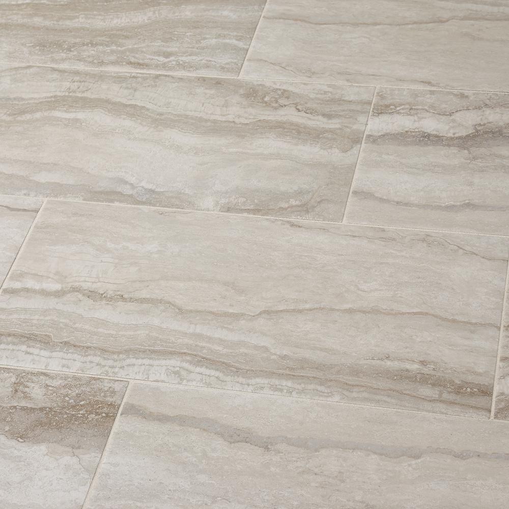 Marazzi Vettuno Greige 12 In X 24 In Glazed Porcelain Floor And Wall Tile 15 6 Sq Ft Case Vt201224hd1p6 The Home Depot Porcelain Flooring Flooring Floor And Wall Tile