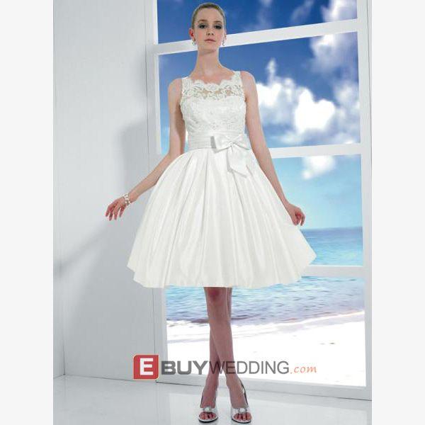 Custom Short Reception Wedding Dresses, Inexpensive A-Line Petite Bridal Dresses - US$ 105.95 | eBuyWedding.com
