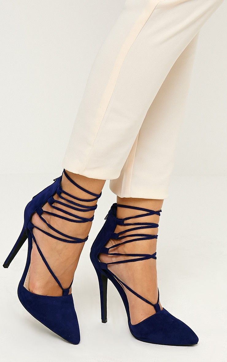 Bali Blue Faux Suede Pointed Strappy Lace Up Heels | Get High