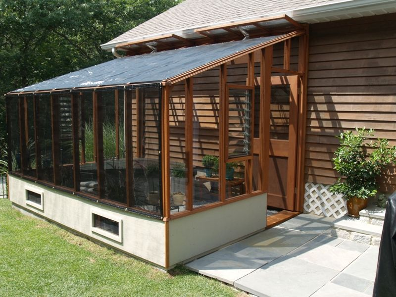 8x12 garden sunroom greenhouse with white stained base for Sunroom attached to house