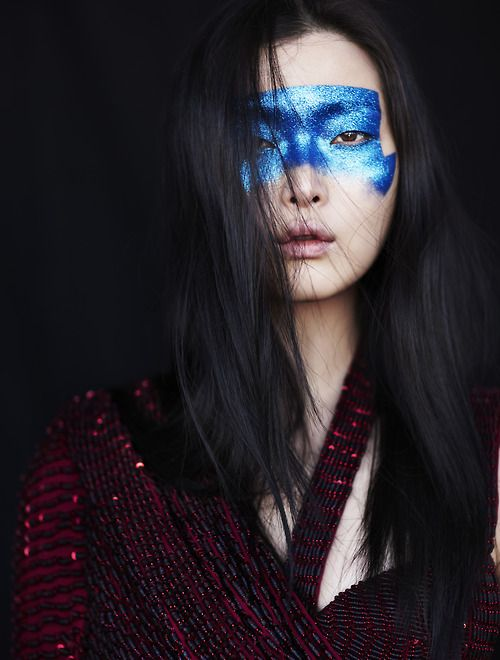 Blue face mask. Sung Hee Kim by Billy Kidd for Vogue Italia May 2014