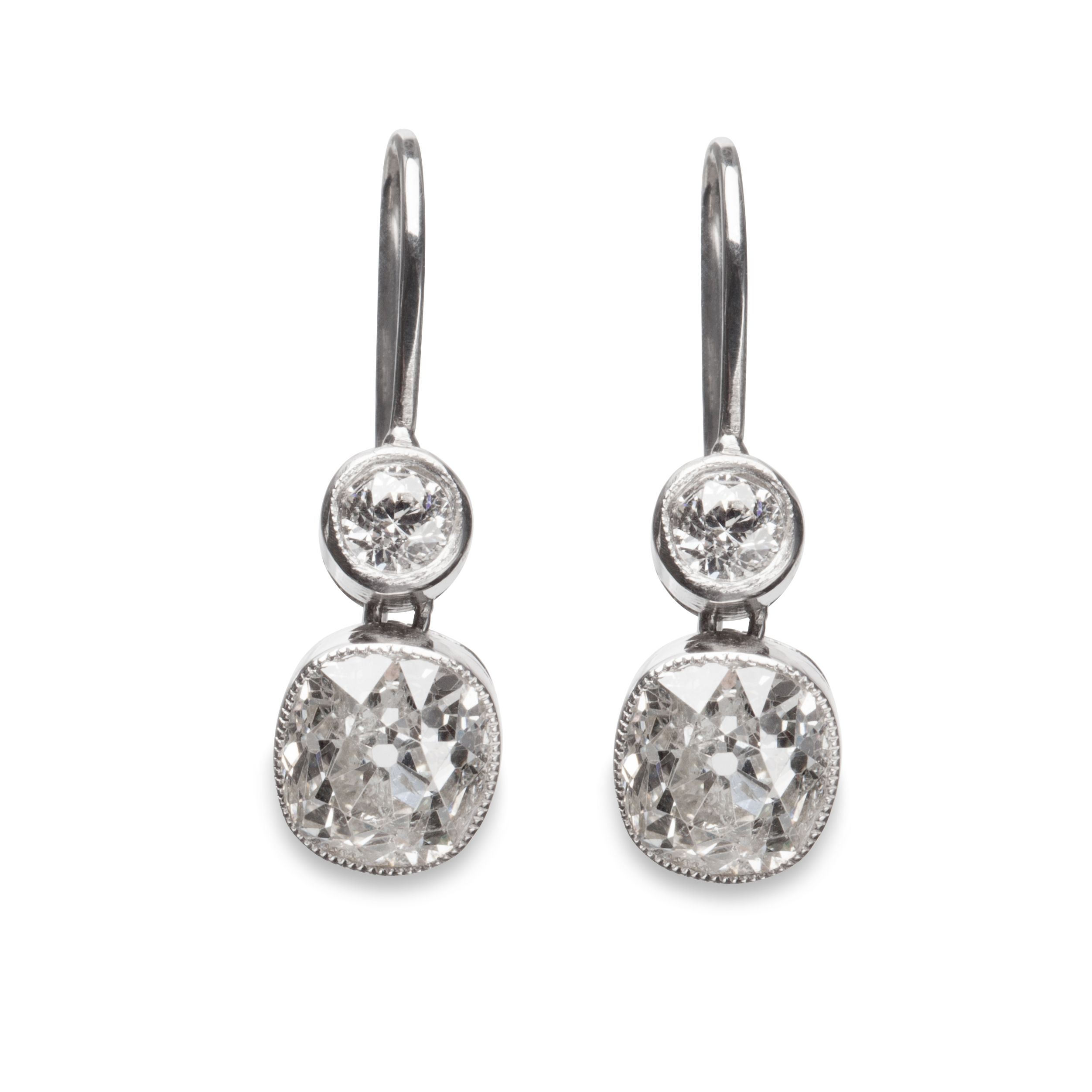 Two stone diamond earrings on a french wire