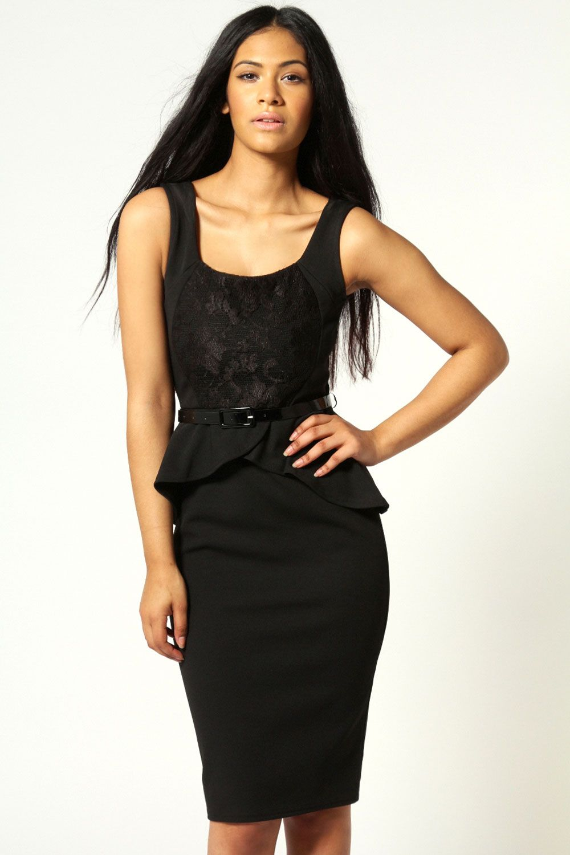 052673c2c2e Candice Midi Peplum Dress With Lace Detail At Boohoo Fashion