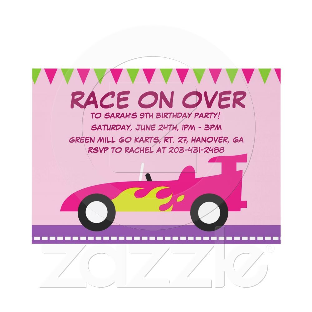 Girl\'s Go Kart Birthday Party Invitation, Card   Party invitations ...