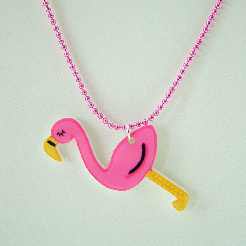 Flamingo Acrylic Necklace; Hoobynoo World