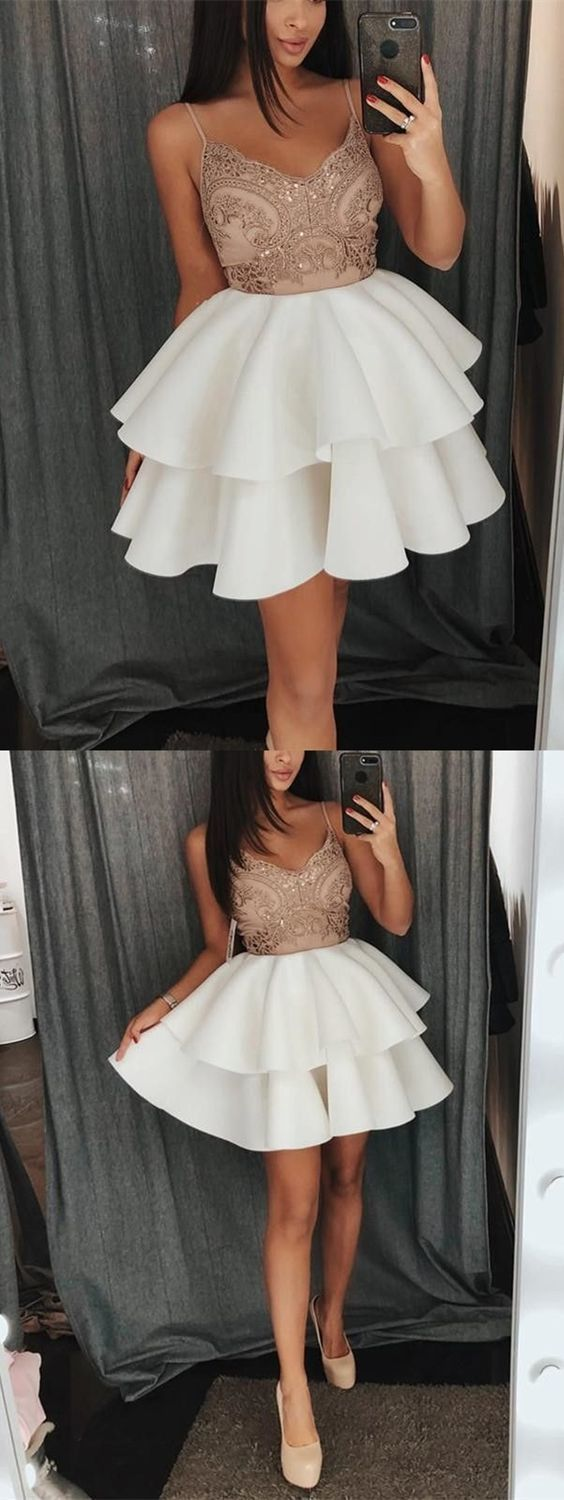 Aline spaghetti straps short white homecoming dress with appliques