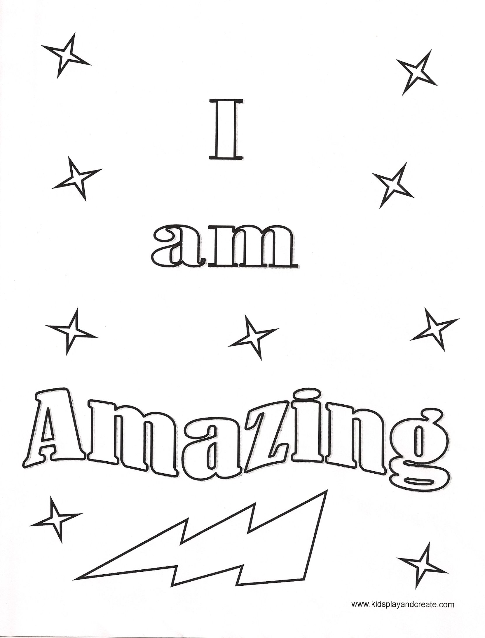 I Am Amazing Coloring Page