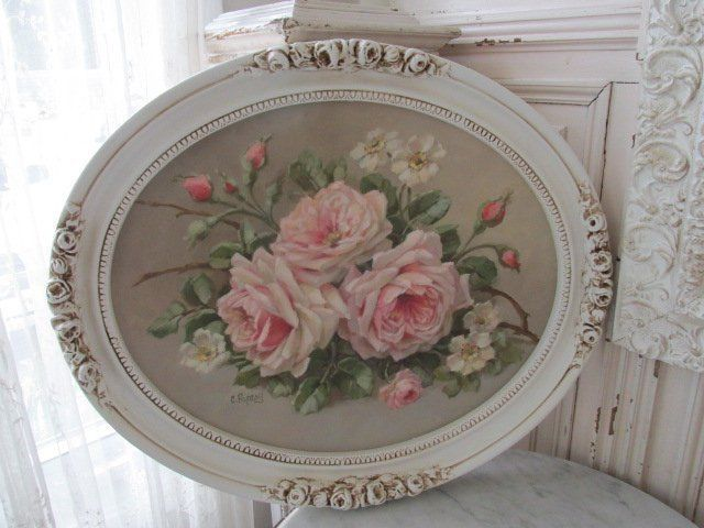 EXQUISITE Christie REPASY CANVAS PRINT PINK ROSES Old Vintage Oval FRAME