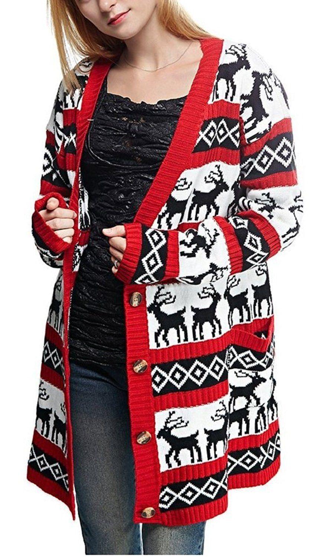 05abcd08249 Amazon.com: Womens Oversized Christmas Reindeer Cardigan: Clothing ...