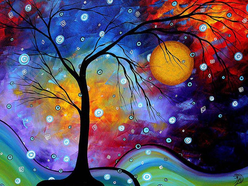 Famous Artist Colourful Landscapes Paintings Rainbow Trees