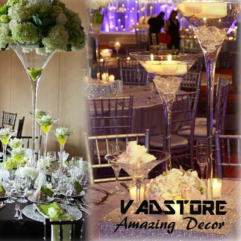 1920 Martini Vase Centerpiece | ... Martini Glass Vase Wedding Table  Centerpiece Flower Holder