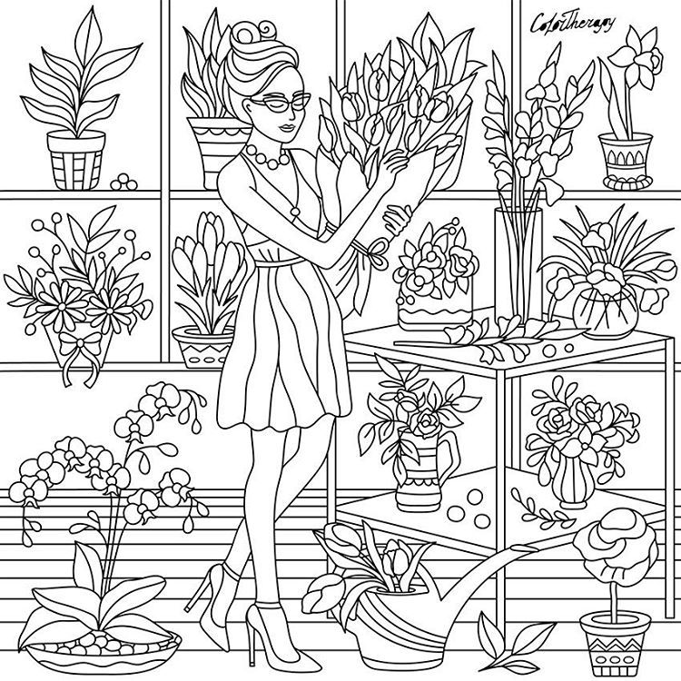 color app coloring pages | LadyFlorist #ColorTherapyApp #adultcoloringbooks # ...