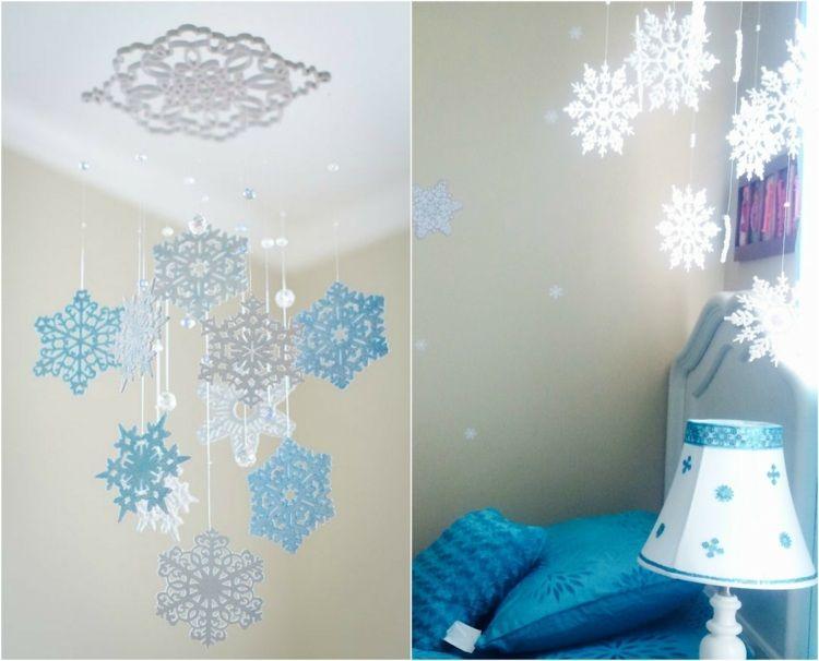Lampions Kinderzimmer ~ Mobile fürs kinderzimmer aus weiß blauen schneeflocken papier