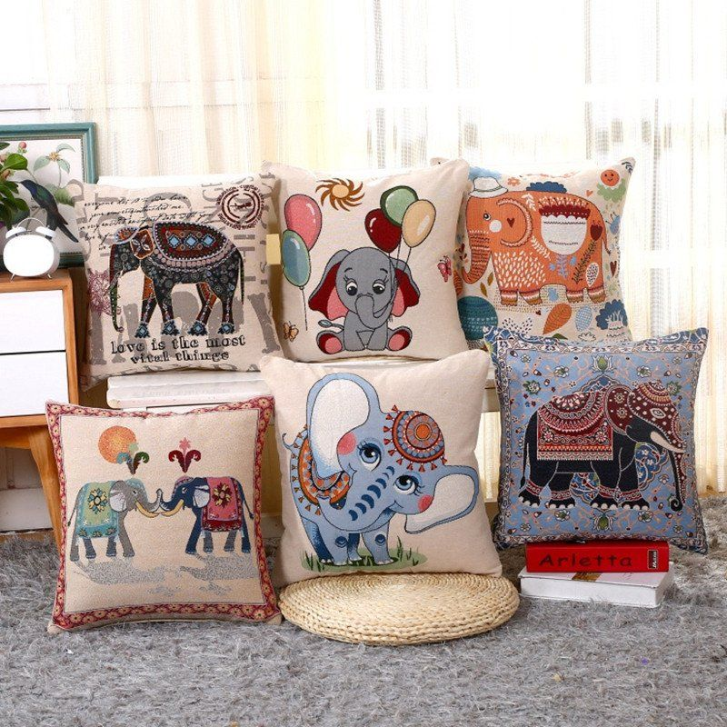 New Embroidery Elephant Pattern Vintage Cushion Covers Cute Cartoon Style Decorative Pillows High Quality Car Sofa Throw Pillows