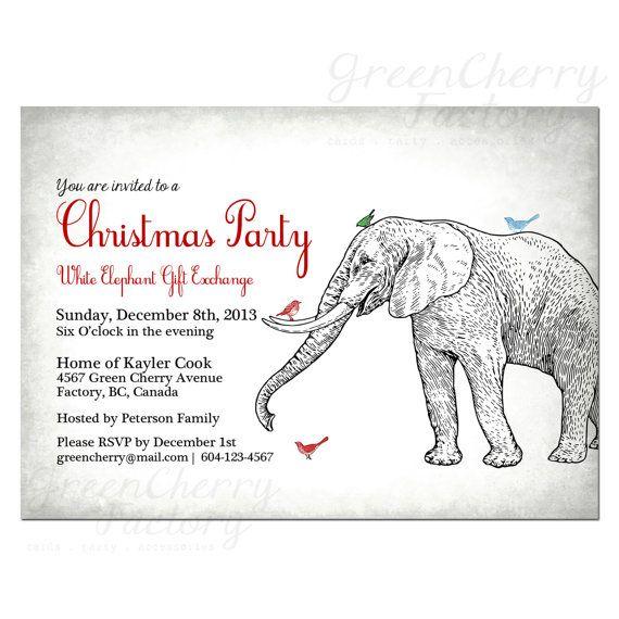 white elephant christmas party invitation vintage light gray