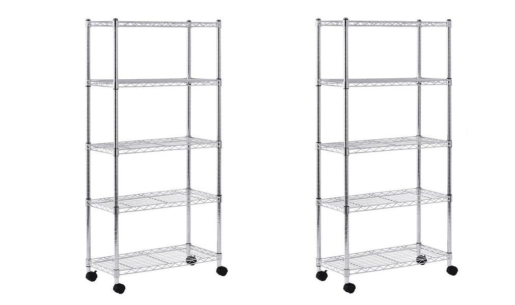 Sandusky MWS301460 Mobile Wire Shelving Unit - 5 Tier with 2 Inch ...