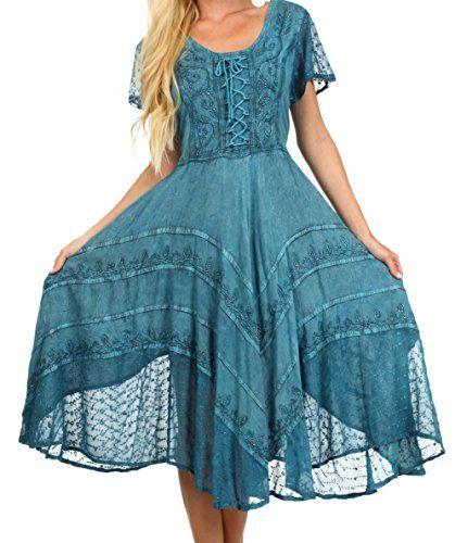 fbac1d34f5 Sakkas Cotton Crepe Smocked Peasant Gypsy Boho Renaissance Dress ...